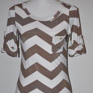 White Mocha Chevron 1/2 Sleeve Shirt with Pocket